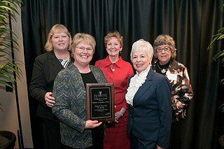 From left, Donna Penticuff, Elizabeth Granger, Jackie Davis, Marion Garmel and Julie Slaymaker accepted the award from Ball State's Department of Journalism. (Photo courtesy of Ball State University)